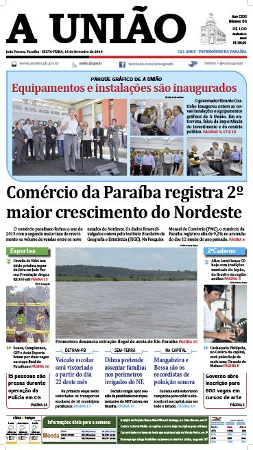 Capa A União 14 02 14 - Jornal A União