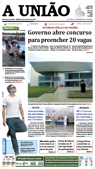 Capa A União 15 02 14 - Jornal A União