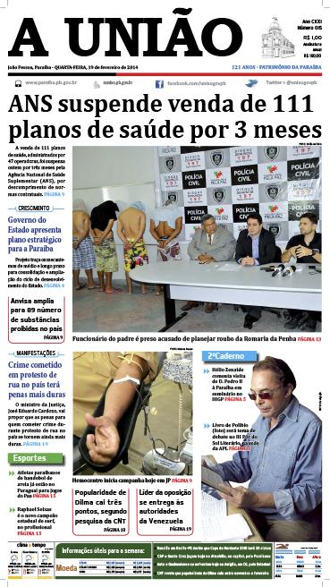 Capa A União 19 02 14 - Jornal A União