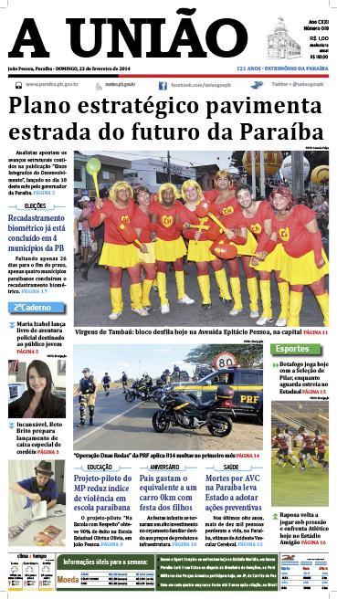 Capa A União 23 02 14 - Jornal A União