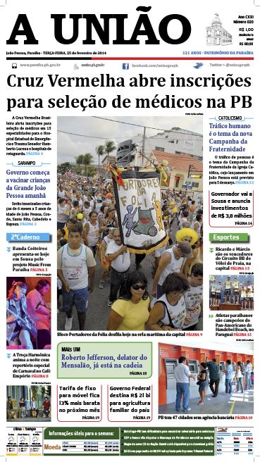 Capa A União 25 02 14 - Jornal A União
