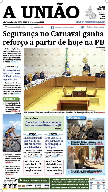 Capa A União 28 02 14 - Jornal A União