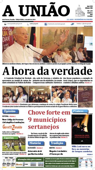 Capa A União 01 04 14 - Jornal A União