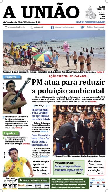Capa A União 04 03 14 - Jornal A União