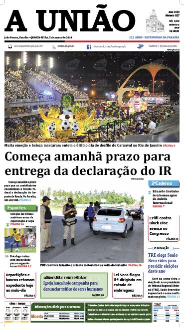 Capa A União 05 03 14 - Jornal A União