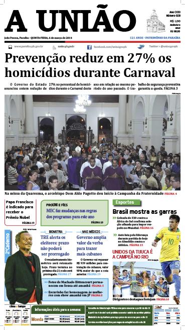 Capa A União 06 03 14 - Jornal A União