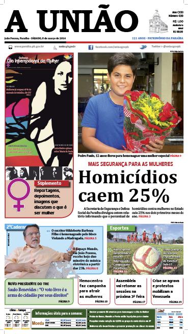 Capa A União 08 03 14 - Jornal A União