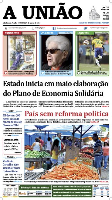 Capa A União 09 03 14 - Jornal A União