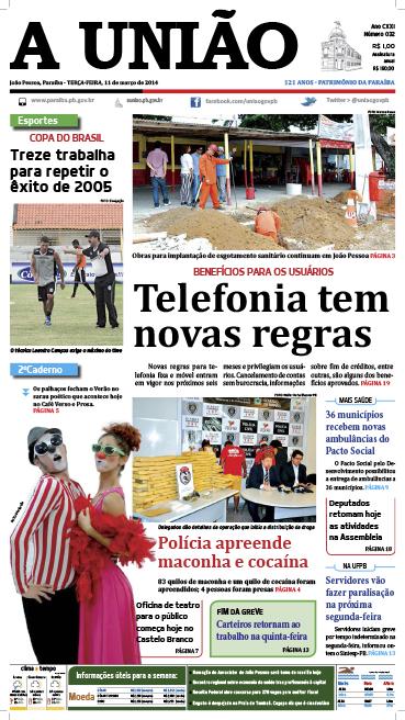 Capa A União 11 03 14 - Jornal A União