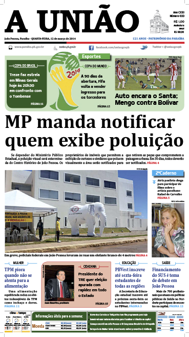 Capa A União 12 03 14 - Jornal A União