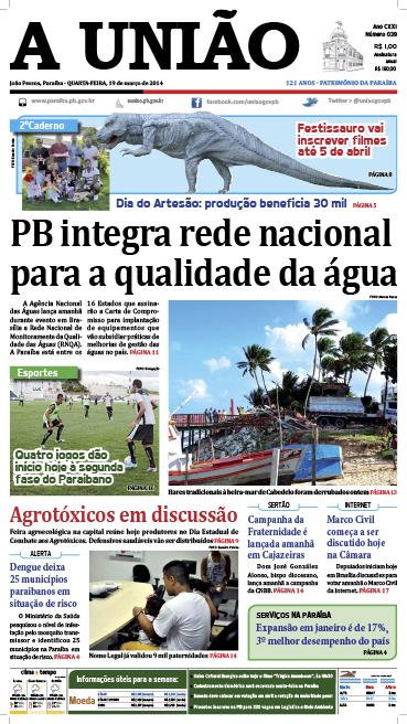 Capa A União 19 03 14 - Jornal A União