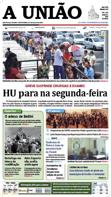 Capa A União 21 03 14 - Jornal A União