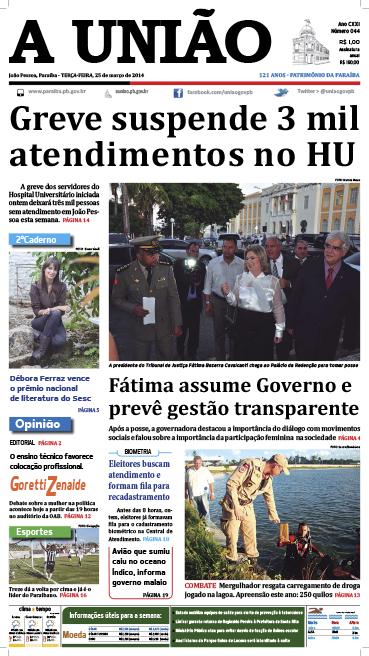 Capa A União 25 03 14 - Jornal A União
