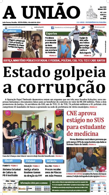 Capa A União 04 04 14 - Jornal A União