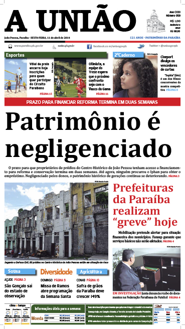 Capa A União 11 04 14 - Jornal A União