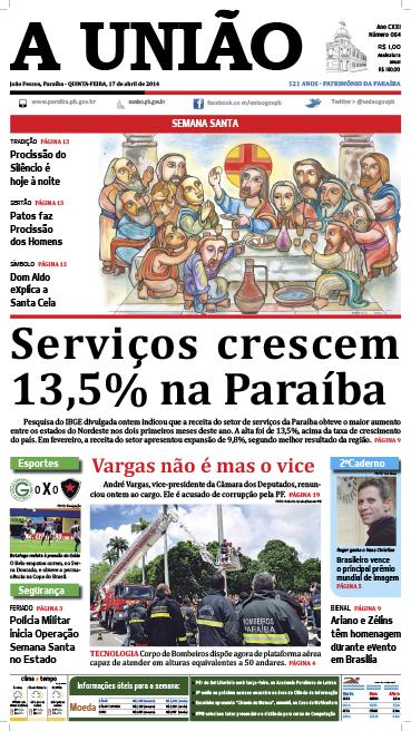 Capa A União 17 04 14 - Jornal A União