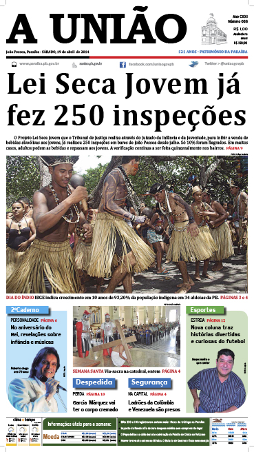 Capa A União 19 04 14 - Jornal A União
