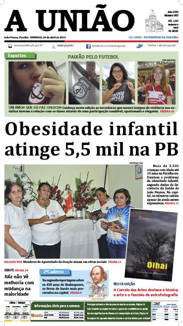 Capa A União 20 04 14 - Jornal A União