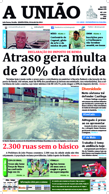 Capa A União 30 04 14 - Jornal A União