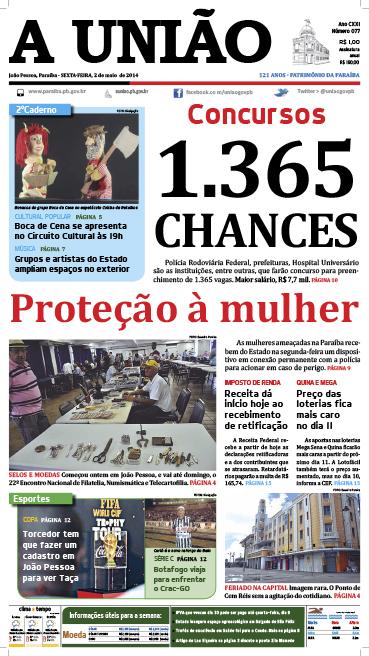 Capa A União 02 05 14 - Jornal A União