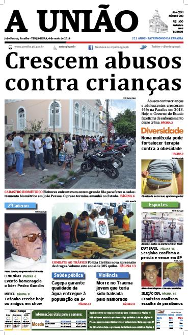 Capa A União 06 05 14 - Jornal A União