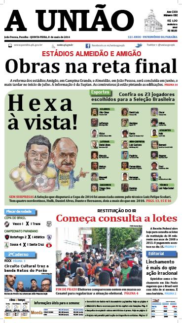Capa A União 08 05 14 - Jornal A União