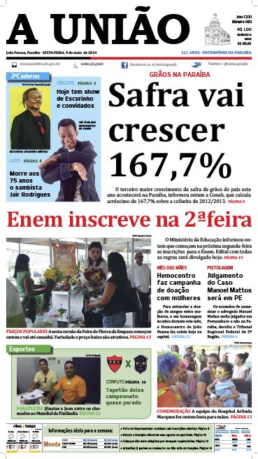 Capa A União 09 05 14 - Jornal A União