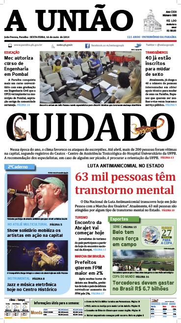 Capa A União 16 05 14 - Jornal A União