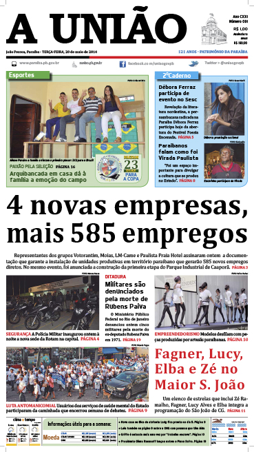 Capa A União 20 05 14 - Jornal A União
