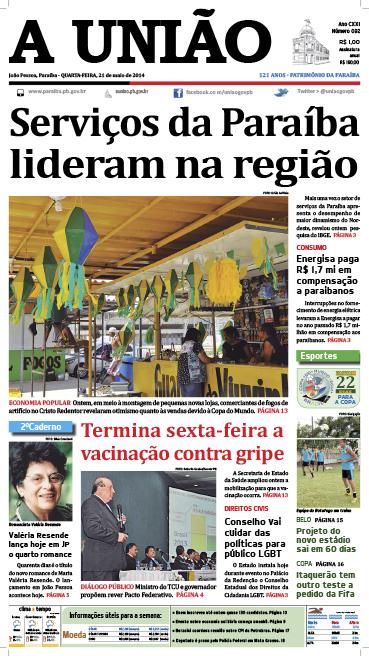Capa A União 21 05 14 - Jornal A União