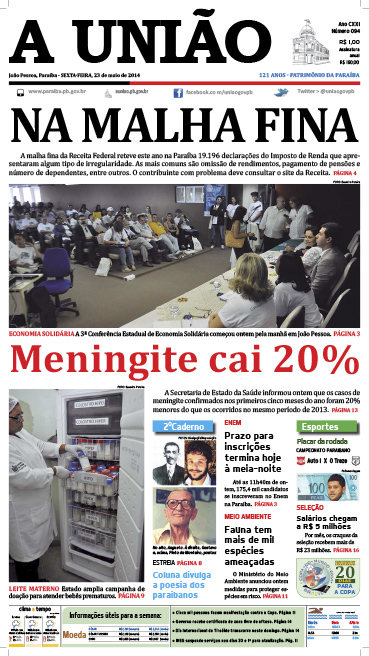 Capa A União 23 05 14 - Jornal A União