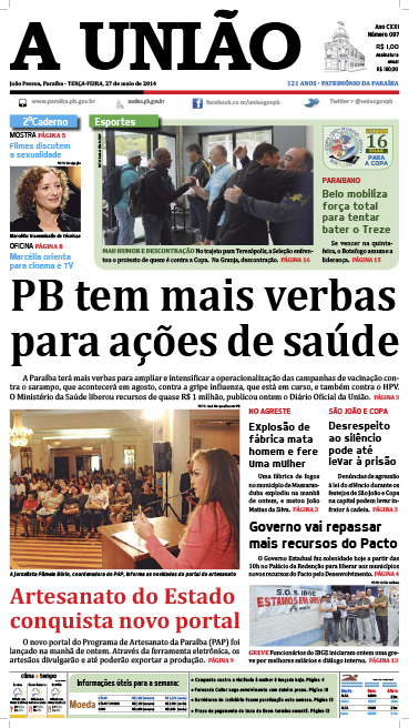 Capa A União 27 05 14 - Jornal A União