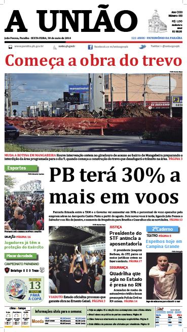 Capa A União 30 05 14 - Jornal A União