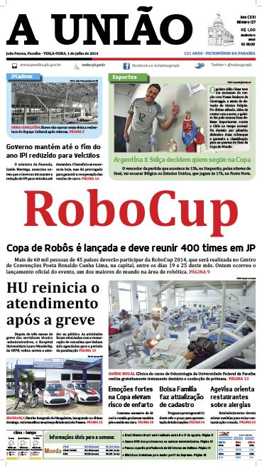 Capa A União 01 07 14 - Jornal A União