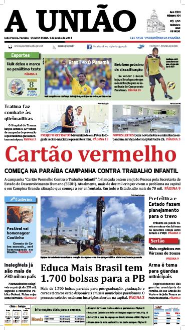 Capa A União 04 06 14 - Jornal A União