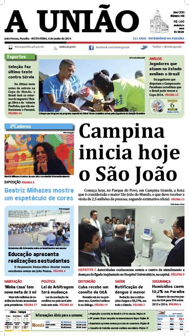 Capa A União 06 06 14 - Jornal A União