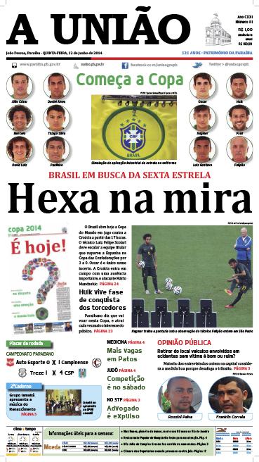 Capa A União 12 06 14 - Jornal A União