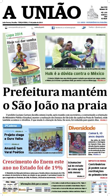 Capa A União 17 06 14 - Jornal A União