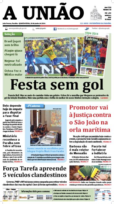 Capa A União 18 06 14 - Jornal A União