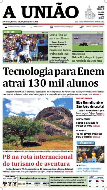 Capa A União 21 06 14 - Jornal A União