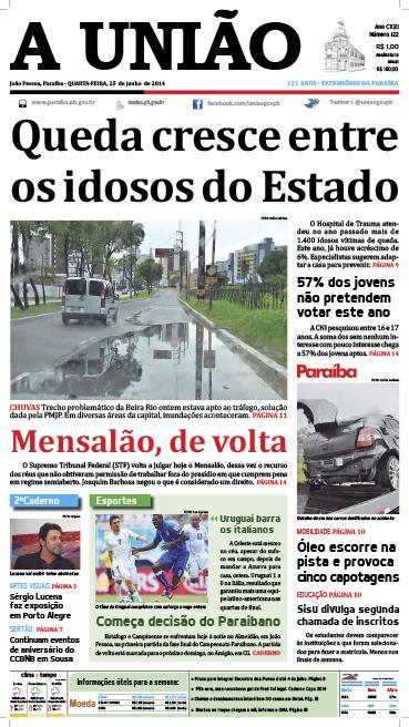 Capa A União 25 06 14 - Jornal A União