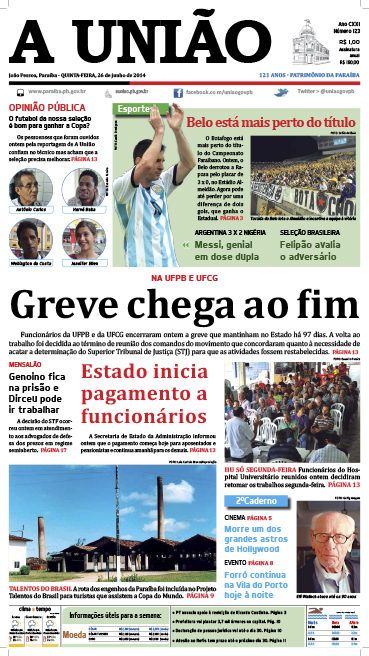 Capa A União 26 06 14 - Jornal A União