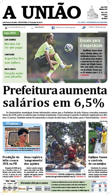 Capa A União 27 06 14 - Jornal A União