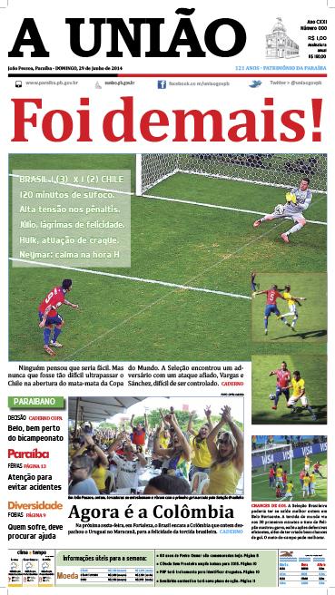 Capa A União 29 06 14 - Jornal A União
