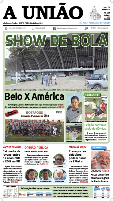 Capa A União 03 07 14 - Jornal A União