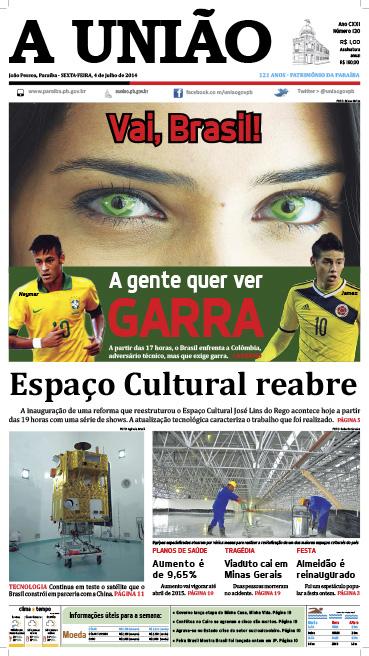 Capa A União 04 07 14 - Jornal A União
