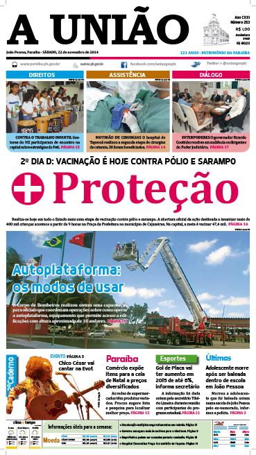 Capa A União 22 11 14 - Jornal A União