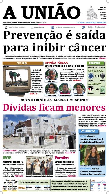 Capa A União 27 11 14 - Jornal A União