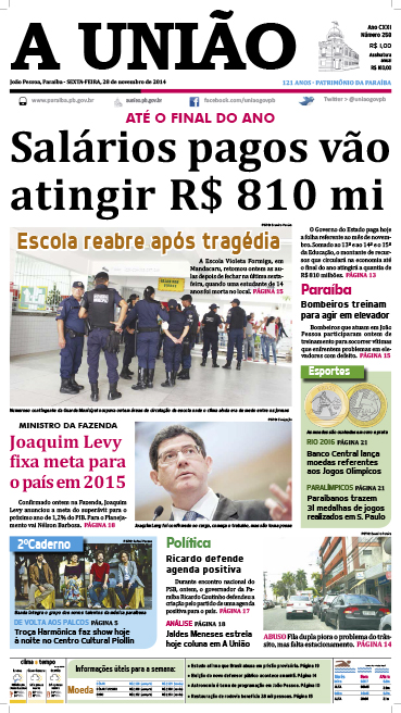 Capa A União 28 11 14 - Jornal A União