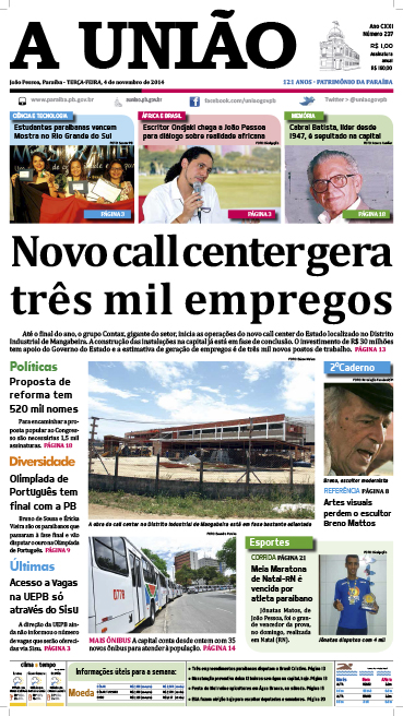 Capa A Uniao 04 11 14 - Jornal A União